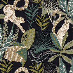 Papier peint Madagascar noir, vert émeraude et doré - L'ODYSSEE - Caselio - OYS101407922