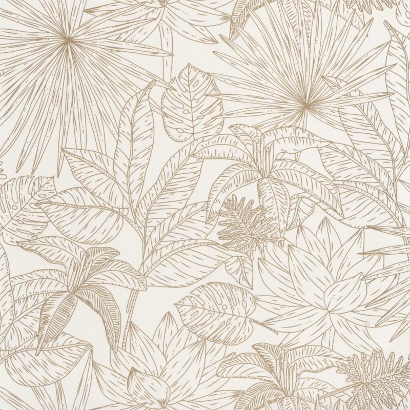 Papier peint Hawai blanc et doré - L'ODYSSEE - Caselio - OYS101430020