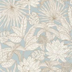 Papier peint Hawai bleu doux et doré - L'ODYSSEE - Caselio - OYS101436109
