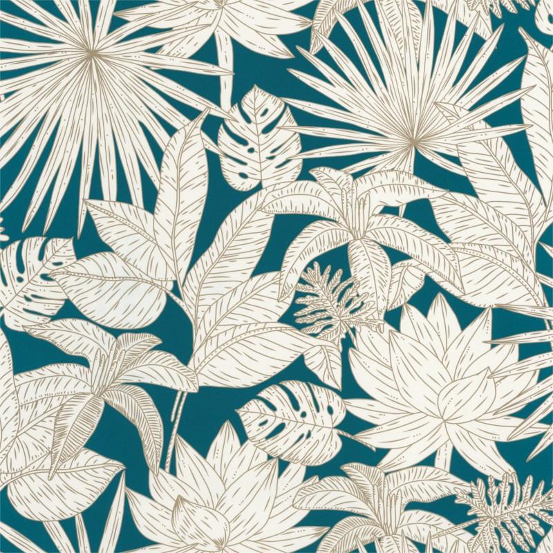 Papier peint Hawai bleu canard et doré - L'ODYSSEE - Caselio - OYS101436625