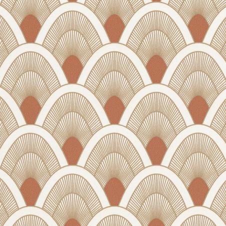 Papier peint Mayotte terracotta et doré - L'ODYSSEE - Caselio - OYS101453131