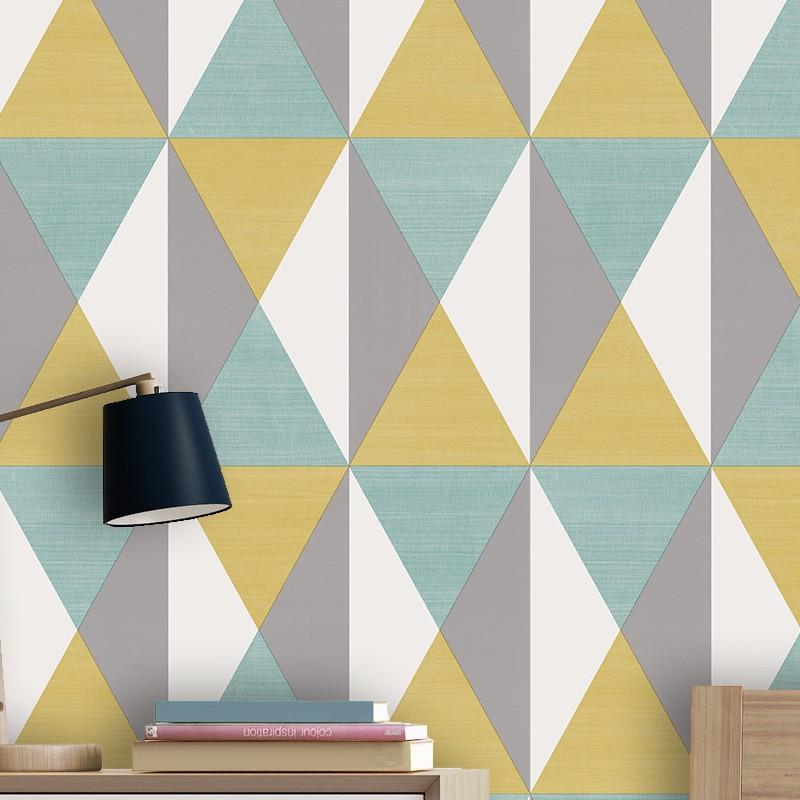 Papier peint Triangles bleu, jaune et gris - GRAPHIQUE - Ugepa - J679-12