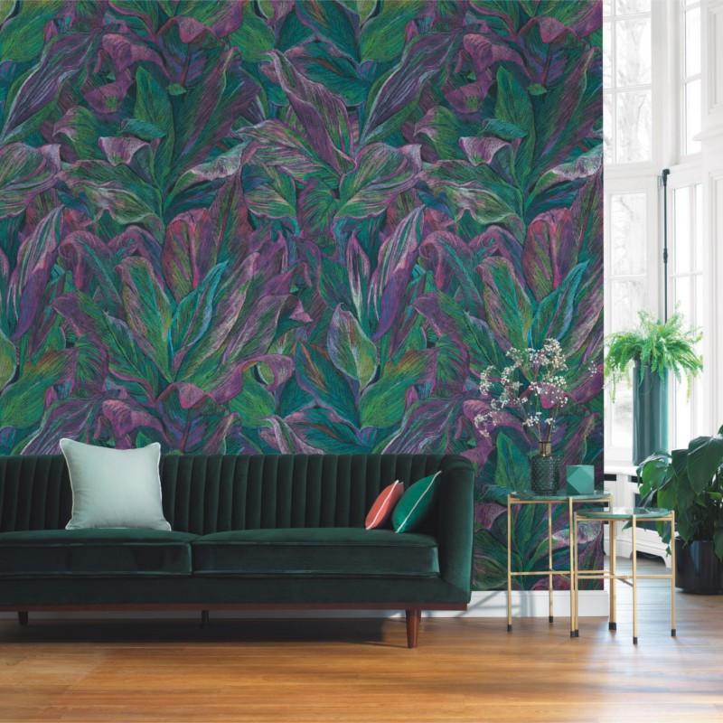 Panoramique Foliage vert et violet - BEAUTY FULL IMAGE  - Casadeco - BFIM84827517