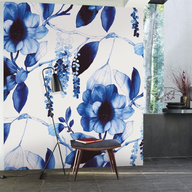 Panoramique Ink Flower bleu et blanc - BEAUTY FULL IMAGE  - Casadeco - BFIM84946408