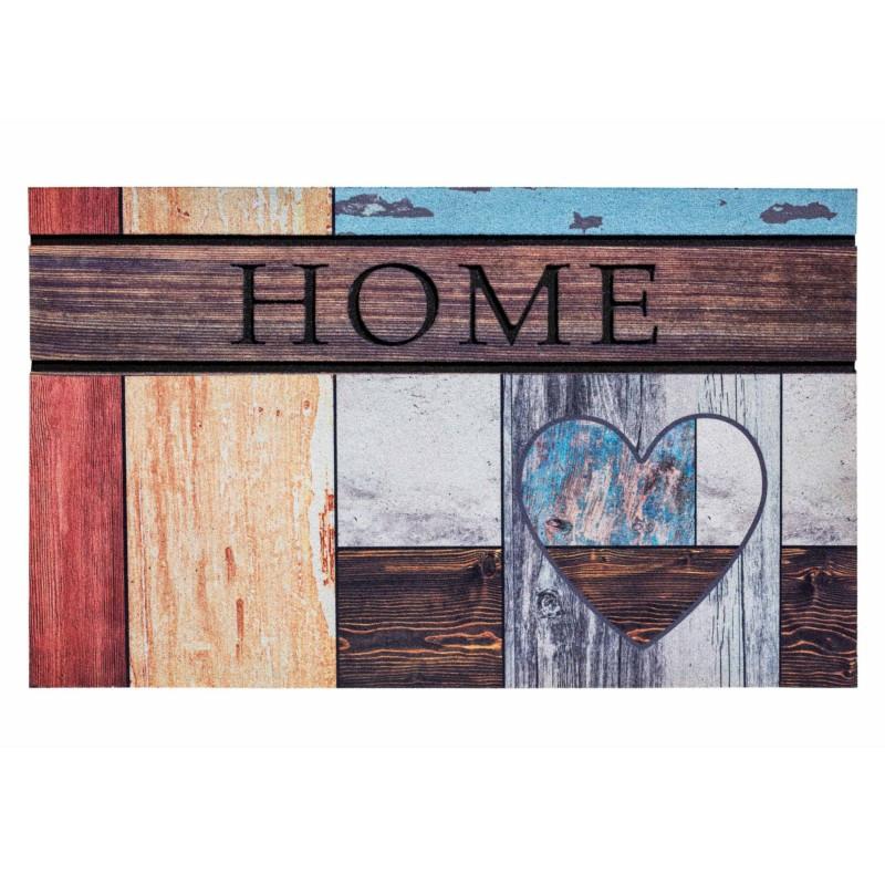 """Paillasson extérieur caoutchouc recyclé """"Top Wooden Heart"""" - Residence HAMAT 45x75"""