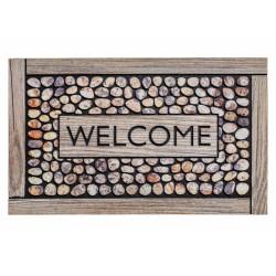 """Paillasson extérieur caoutchouc recyclé """"Welcome Framed Pebbles galets"""" - Residence HAMAT 45x75"""