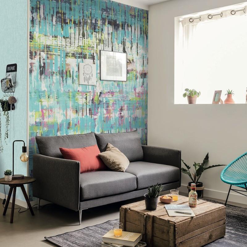 Panoramique Pixel Art bleu - BEAUTY FULL IMAGE  - Casadeco - BFIM85036206