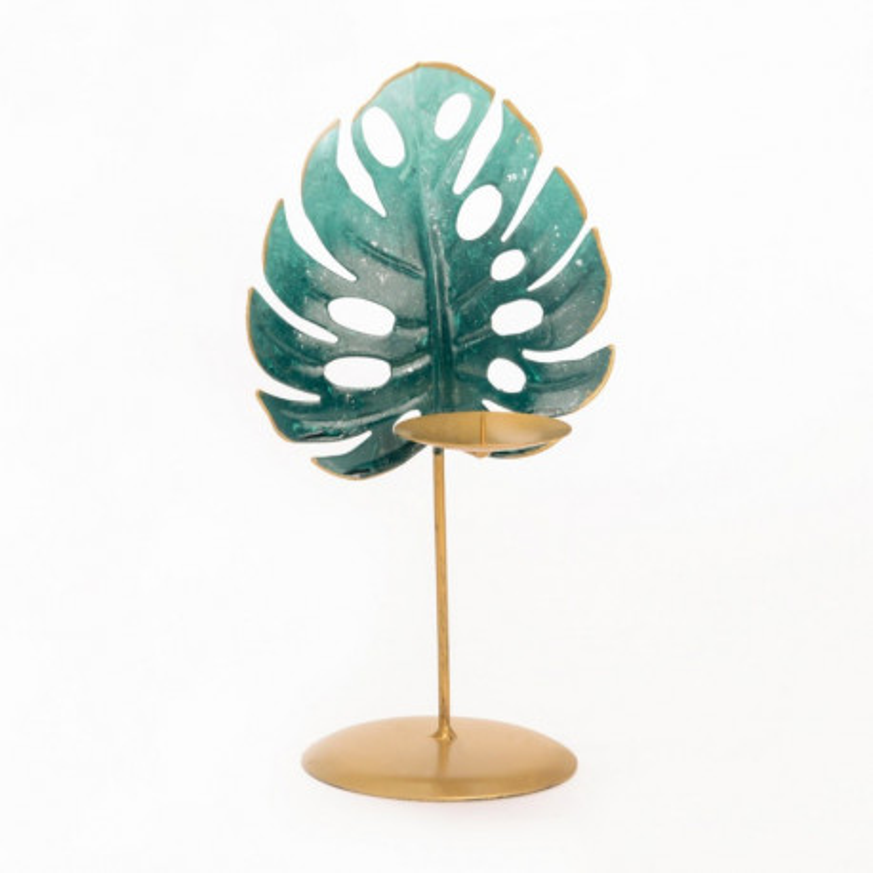 Bougeoir Jungle palme verte et doré - Amadeus
