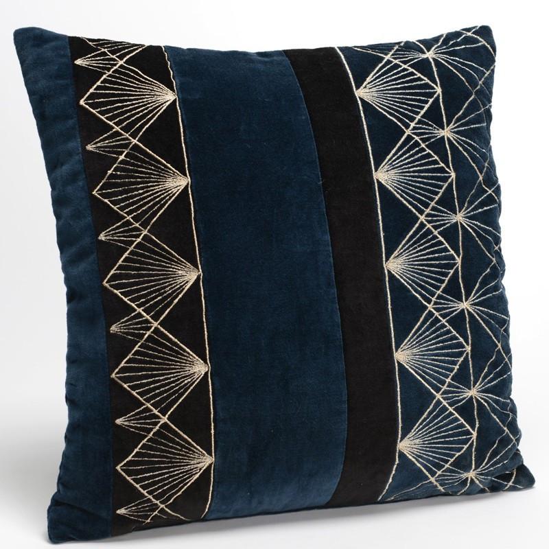 Coussin art déco Empire bleu et noir - 40x40cm - Amadeus