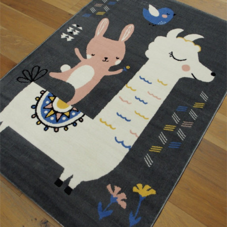 "Tapis enfant ""Lama gris et lapin rose"" - Flash BALTA 120x170"