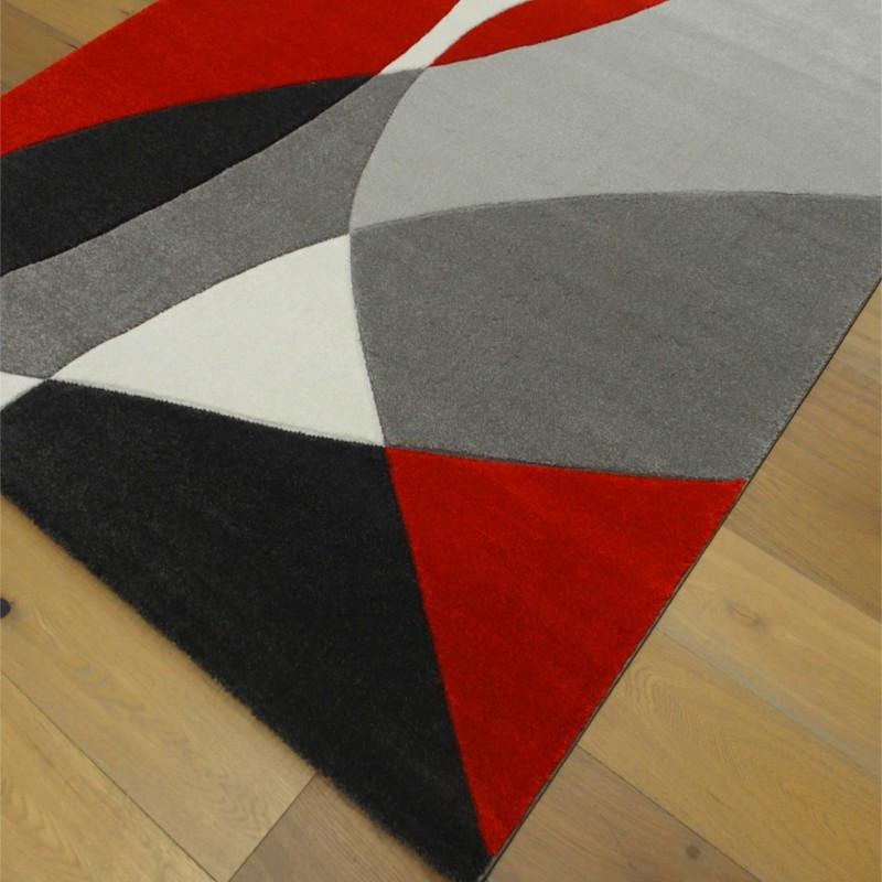 Tapis moderne années 60 rouge et gris - 160x230cm - Shuffle - BALTA