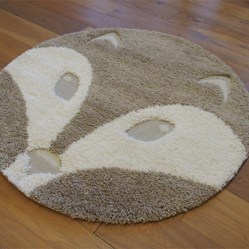 Tapis rond tête de renard écru et taupe - Diamètre 120cm - RICHIE