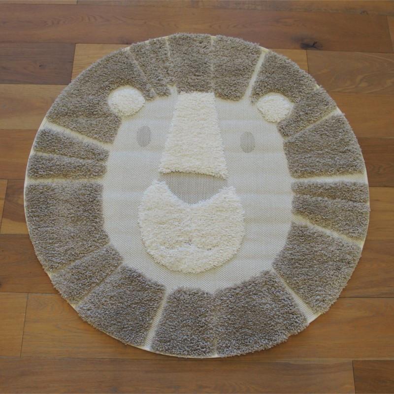 Tapis rond tête de LION taupe et beige - Diamètre 120cm - RICHIE