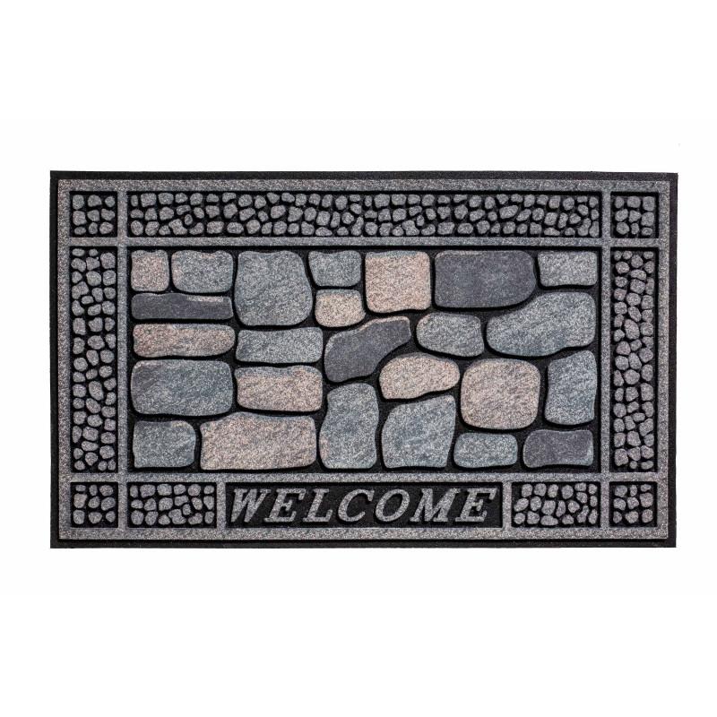"""Paillasson extérieur caoutchouc recyclé """"Stones Welcome"""" - Residence HAMAT 45x75"""
