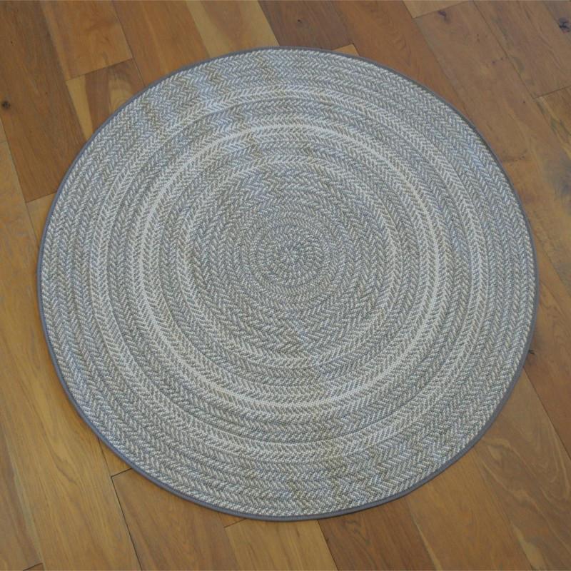 Tapis rond tissé en corde Chevrons gris clair - 120cm - ESSENZA