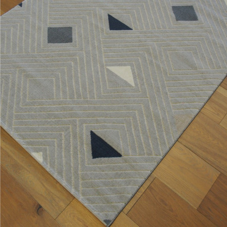 "Tapis velours ras ""Géométrie triangles gris clair"" - Shade BALTA 120x170"