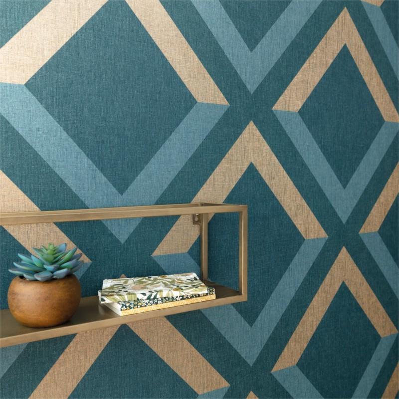 Papier peint Groove bleu madura doré - MOOVE - Caselio - MVE101346913