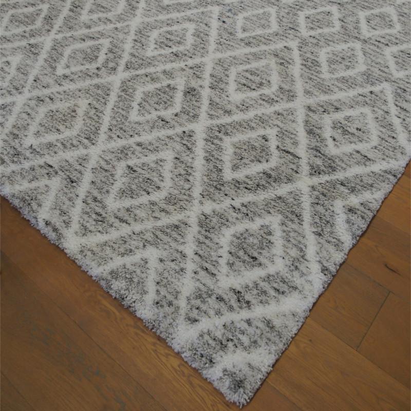 Tapis shaggy à motif berbère losanges gris chiné - 200x290cm - SHERPA BALTA