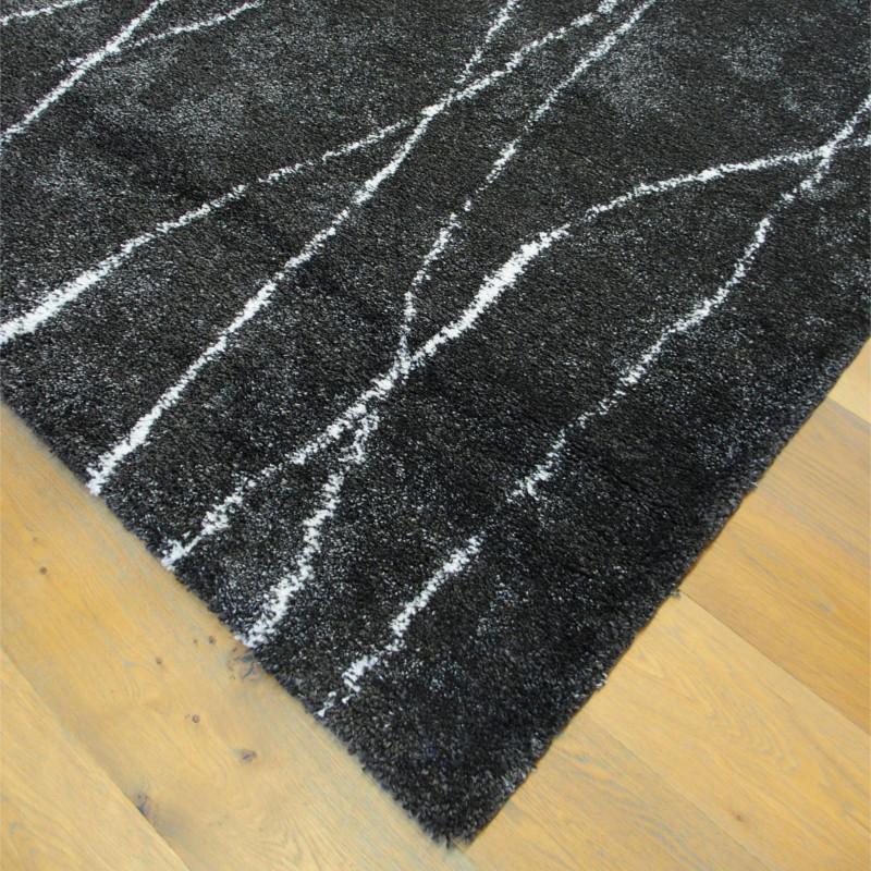 Tapis shaggy à motif Destroy anthracite - 160x230cm - SHERPA