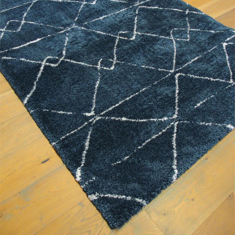 Tapis shaggy NOA bleu nuit à motif moderne - 160x230cm