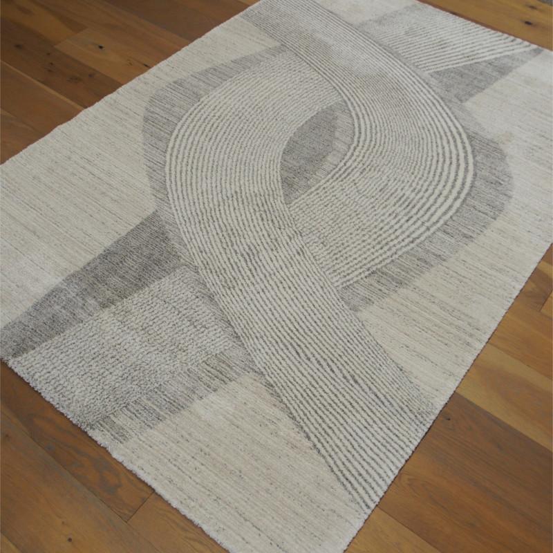 Tapis tout doux SIROC écru à motif spirales Art Déco - 160x230cm