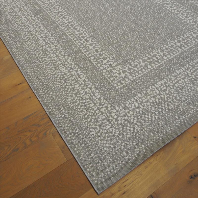 Tapis tissé en corde gris clair et écru - 200x290cm - ESSENZA