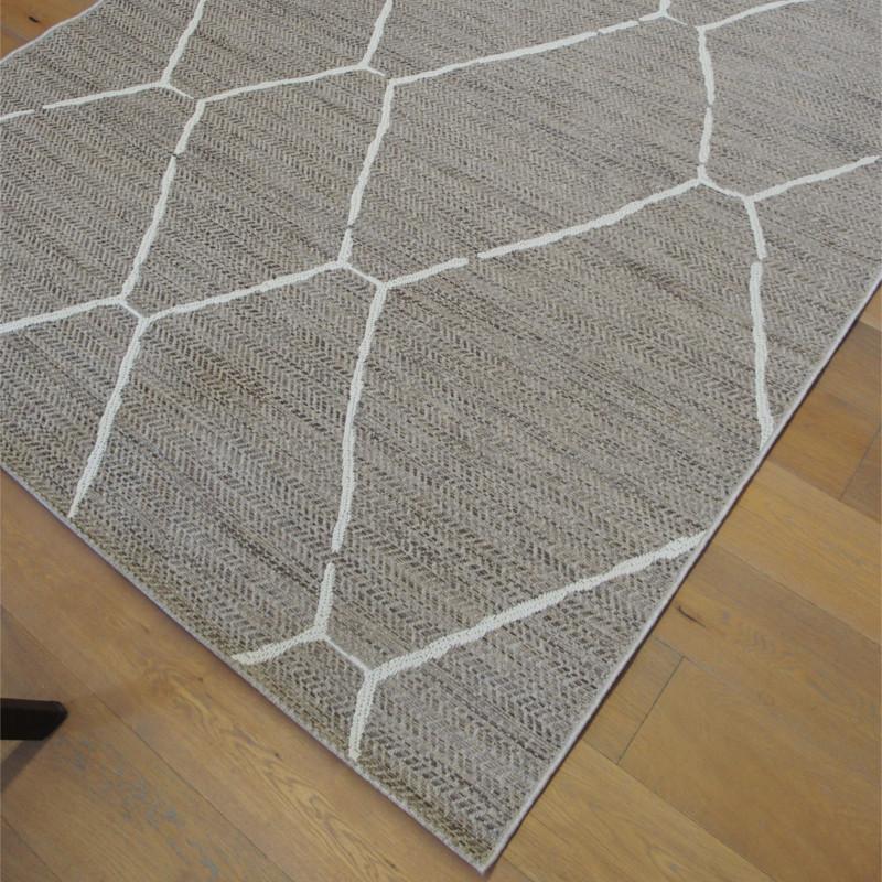 Tapis cordes tressées à motif berbère écru et taupe - 160x230cm - INDY