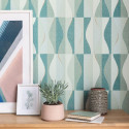 Papier peint Ondulation vert d'eau vert émeraude doré - MOOVE - Caselio - MVE101387623