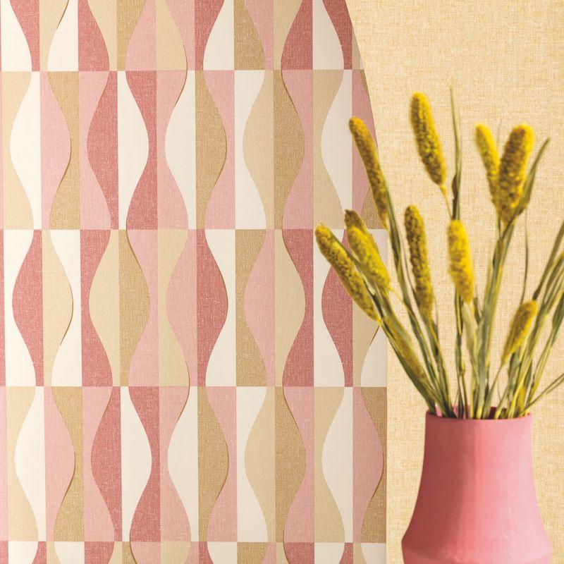 Papier peint Ondulation orange, rose, blanc - MOOVE - Caselio - MVE101382802