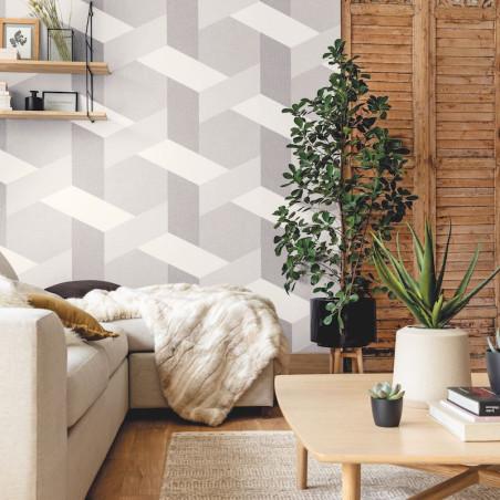 Papier peint Twist gris anthracite gris doux blanc - MOOVE - Caselio - MVE101359215