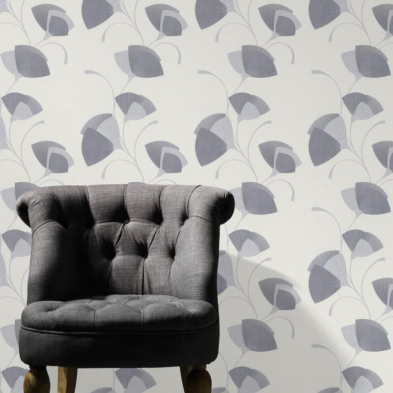 Papier peint Flower Eventail gris pailleté - Erismann - 02458-10