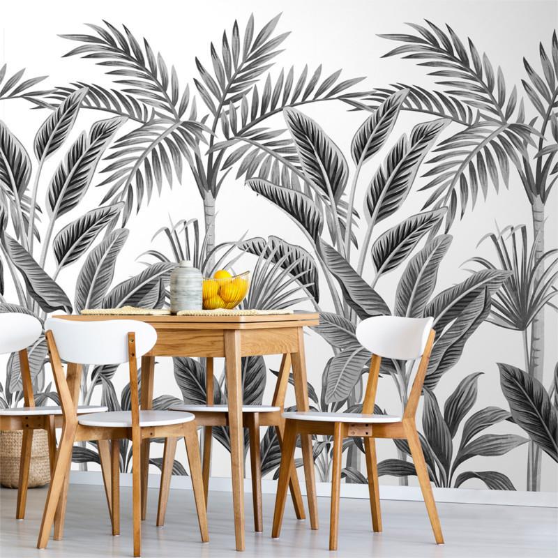 Panoramique jungle Tropical Forest noir et blanc - Collector - GRANDECO