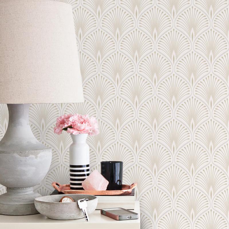 Papier peint Layla Grand Hotel blanc et doré - STYLIST - Grandeco - GV3101