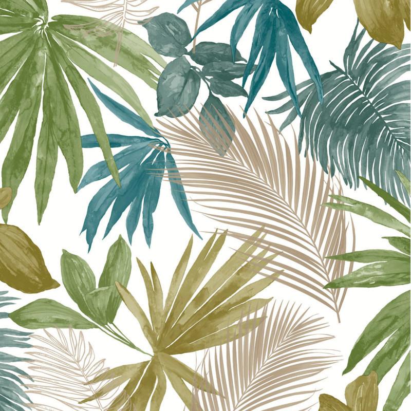 Papier peint Wild Palm bleu vert et doré - JUNGLE FEVER - Grandeco Life - JF3602
