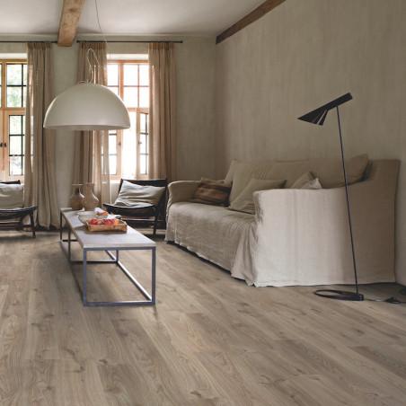 """Lame PVC clipsable """"Chêne cottage gris brun BACL40026"""" - Livyn Balance Click QUICK STEP (résistant)"""