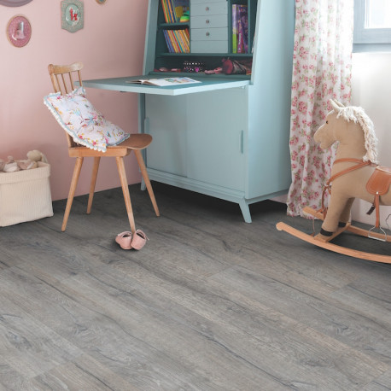 """Lame PVC clipsable """"Chêne héritage gris BACL40037"""" - Livyn Balance Click QUICK STEP (résistant)"""