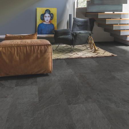 """Lame PVC clipsable """"Ardoise noire AMCL40035"""" - Livyn Ambient Click QUICK STEP (résistant)"""