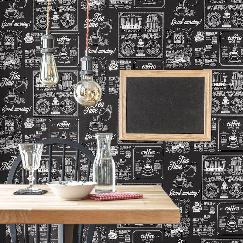 Papier peint Plat du Jour noir et blanc - AU BISTROT D'ALICE - Caselio - BIS100670000