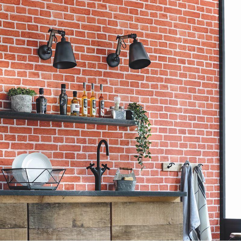 Papier peint Briques rouge - AU BISTROT D'ALICE - Caselio - BIS100688083