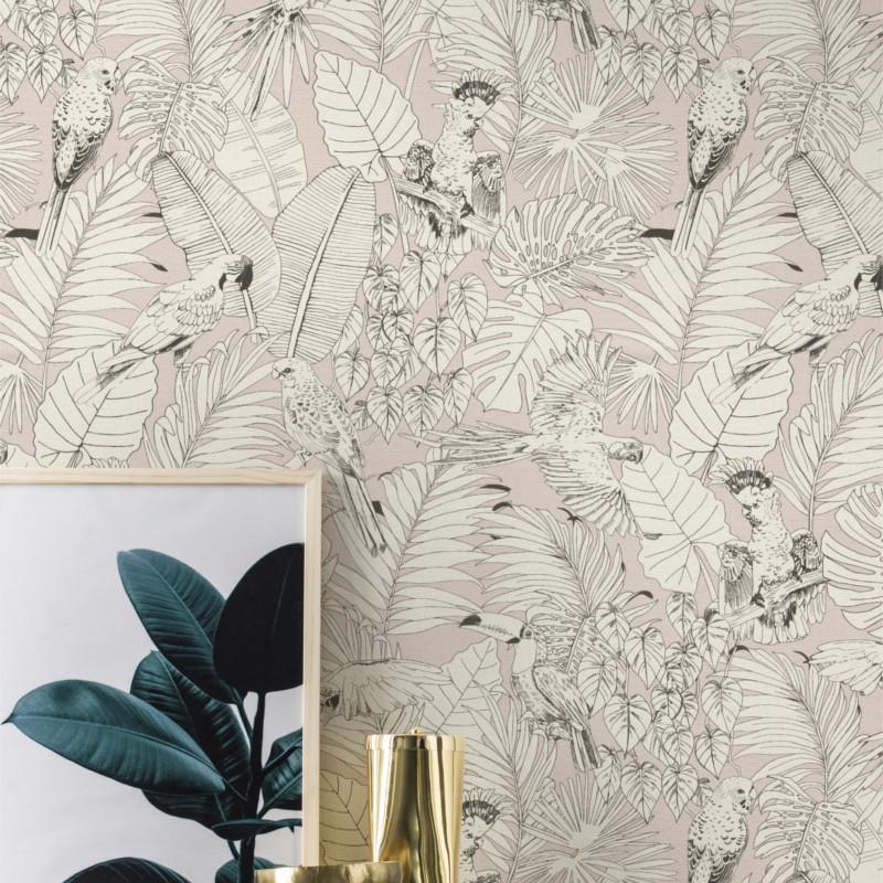 Papier peint Madagascar Tropical rose pastel - Rasch - 447873