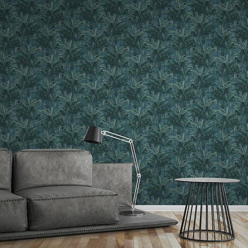 Papier peint Jungle Forest bleu vert - GREENERY - AS Creation - 364801