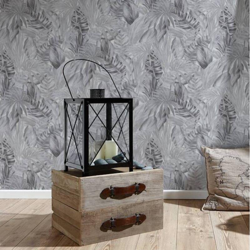 Papier peint Jungle Palmes blanc et gris - GREENERY - AS Creation - 368203