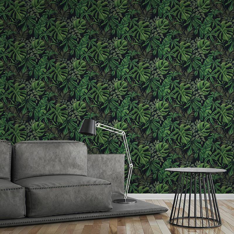 Papier peint Jungle Night Bananier noir et vert - GREENERY - AS Creation - 370331