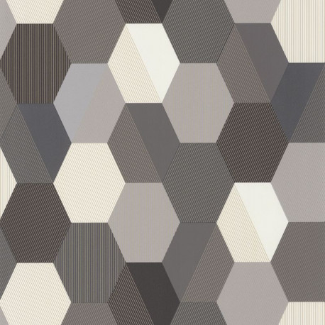 Papier peint Hexagone or et noir - MOONLIGHT - Caselio - MLG100109023