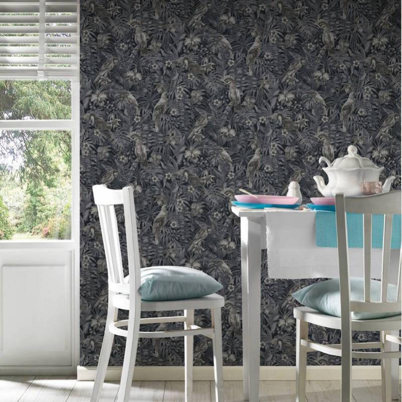 Papier peint Jungle Perroquets gris et noir - GREENERY - AS Creation - 372104