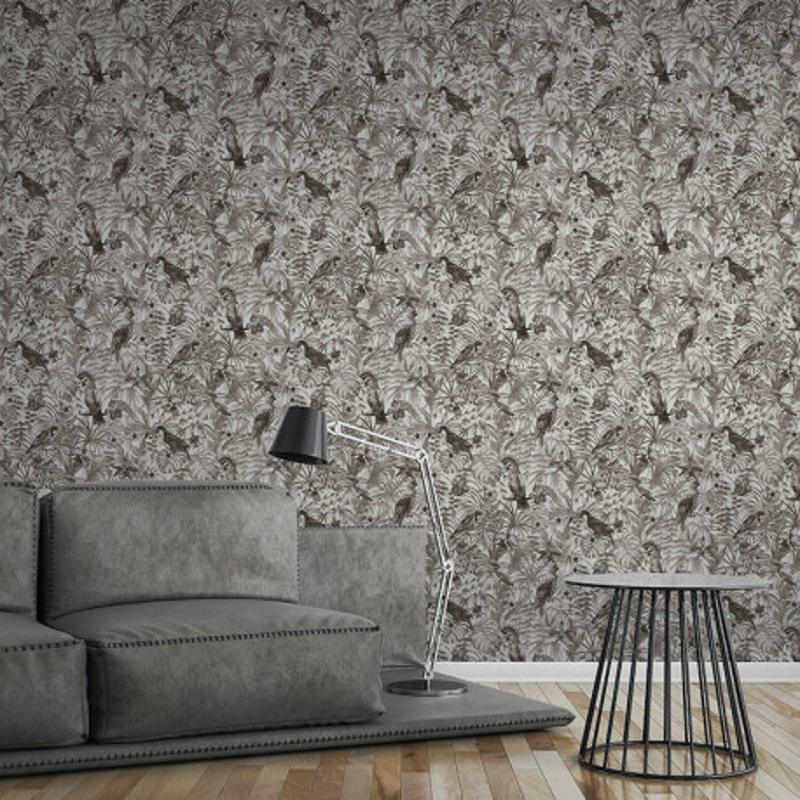 Papier peint Jungle Perroquets noir et blanc  - GREENERY - AS Creation - 372105