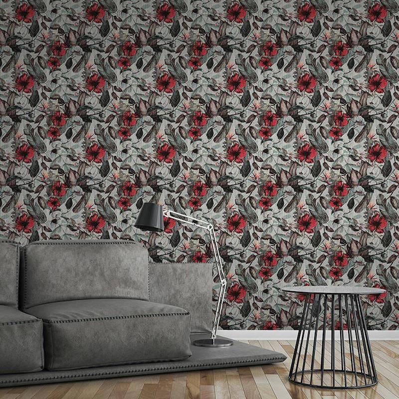Papier peint Fleurs gris et rouge - GREENERY - AS Creation - 372161