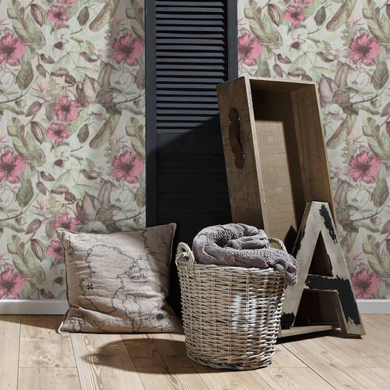 Papier peint Fleurs crème et rose - GREENERY - AS Creation - 372164