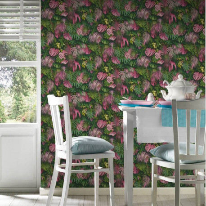 Papier peint Jungle Amazonia rose et vert - GREENERY - AS Creation - 372801