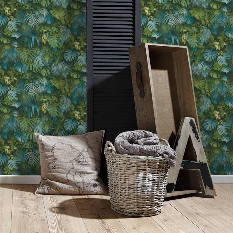 Papier peint Jungle Amazonia vert et bleu - GREENERY - AS Creation - 372803